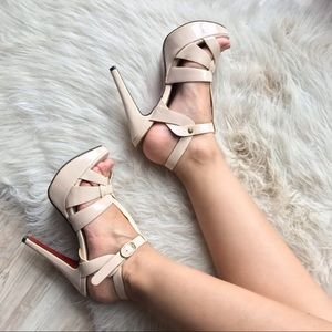 Cream platform heels